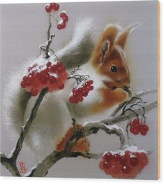 Squirrel with Rowan Berries Wood Print by Alina Oseeva. All wood prints are professionally printed, packaged, and shipped within 3 - 4 business days and delivered ready-to-hang on your wall. Choose from multiple sizes and mounting options. Amazing Paintings, Original Paintings, Russian Art, Got Print, Silk Painting, Rowan, New Wave, Art For Sale, Unique Art