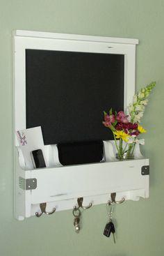 "Distressed Entry Wall Organizer - Chalkboard, "" Shabby Chic Decor, "" Mail, Phone, Mirror, Keys, Corkboard, White Board by WhiteWingWoodcraft on Etsy https://www.etsy.com/listing/205371929/distressed-entry-wall-organizer"