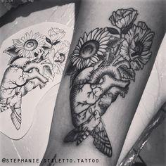 stephanie stiletto tattoo linework blackwork nature vegan tattoo moth anatomic heart anatomy