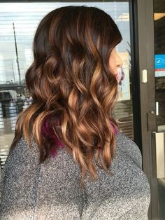 Dark brown root with baylage highlights and pravana wild orchid peekaboo