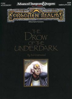 FOR2 The Drow of the Underdark (2e) - Forgotten Realms | Book cover and interior art for Advanced Dungeons and Dragons 2.0 - Advanced Dungeons & Dragons, D&D, DND, AD&D, ADND, 2nd Edition, 2nd Ed., 2.0, 2E, OSRIC, OSR, d20, fantasy, Roleplaying Game, Role Playing Game, RPG, Wizards of the Coast, WotC, TSR Inc. | Create your own roleplaying game books w/ RPG Bard: www.rpgbard.com | Not Trusty Sword art: click artwork for source