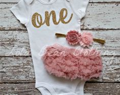 Baby Girl 1st Birthday Outfit Cake Smash Gold by LolaBeanClothing