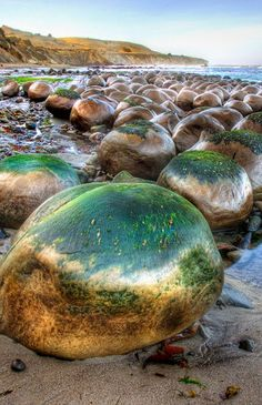 Bowling Ball Beach Bowling Ball Beach is a part of Schooner Gulch State Beach, in Mendocino County, California, in the United States. It is named for the spherical sandstone concretions found there.
