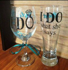 I DO Glasses #wedding #ido #wine #beer #fun