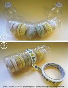 Use up cycled plastic bottles and washi tape to create cookie and cupcake packaging. Cute!