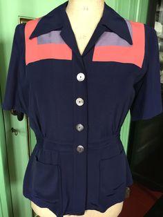 Een persoonlijke favoriet uit mijn Etsy shop https://www.etsy.com/listing/268250440/1950s-womens-rayon-suit-blouse-and