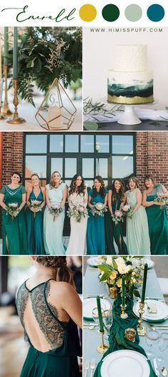 Emerald bridesmaid dresses trending wedding colours spring color wedding green mint Pinner 14 Dark G Emerald Wedding Colors, Emerald Green Weddings, Spring Wedding Colors, Wedding Colours, January Wedding Colors, Colour Themes For Weddings, Vintage Wedding Colors, Spring Wedding Decorations, Emerald Color