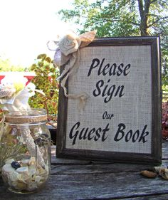 Burlap Guest Book Sign Wedding Guest Book Sign by TwiningVines, $31.25