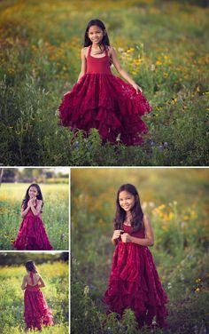 Burgundy Arabella high low dress would be lovely as a flower girl dress for a boho wedding.
