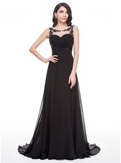 A-Line/Princess Scoop Neck Court Train Chiffon Prom Dress With Ruffle Beading Appliques Lace Sequins