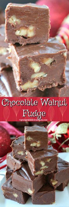 Chocolate Walnut Fudge - There's just something about a piece of rich, creamy, chocolaty fudge! This chocolate walnut fudge is definitely creamy and rich. Candy Recipes, Sweet Recipes, Cookie Recipes, Dessert Recipes, Christmas Fudge, Christmas Desserts, Christmas Holidays, Xmas, Christmas Candy