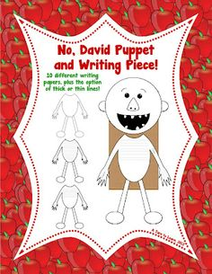 talk about classroom rules/expectations with this no, david puppet and writing piece! $4 gets you ten different writing papers to go along with the puppet!