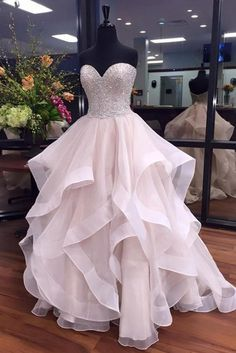 white organza + sequins sweetheart prom dress, ball gowns wedding dress