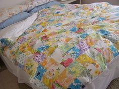 duvet cover from a patchwork of vintage sheets. by tania of ivynest.