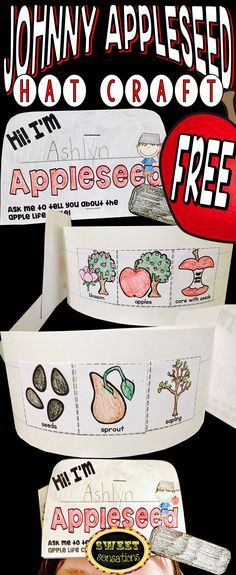 Free Johnny Appleseed craft activity hat with apple life cycle sequencing pictures for pre-K and Kindergarten.