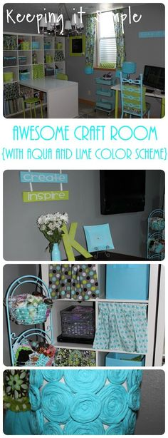 Awesome Craft Room with Lime and Aqua Color Scheme.  Lots of ideas for creative craft storage and DIY home decor