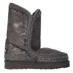 Mou Eskimo Short Boots Women Metallic Cracked Brown - MOU #mou #eskimo #boots #women #fashion