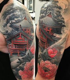 tattoos in japanese prints Badass Tattoos, Life Tattoos, Body Art Tattoos, Tatoos, Japanese Tattoo Designs, Japanese Sleeve Tattoos, Future Tattoos, Tattoos For Guys, Japanese Temple Tattoo