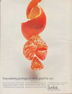 """Description: 1967 SUNKIST vintage print advertisement """"Easy-opening package"""" -- Easy-opening package of what's good for you. The fact that a Sunkist Navel is fairly bursting with natural Vitamin C and 50 other good things probably won't surprise you ... So open up an orange. A Sunkist orange. Sunkist -- From California-Arizona -- Size: The dimensions of the full-page advertisement are approximately 11 inches x 14 inches (28 cm x 36 cm). Condition: This original vintage advertisement is in…"""