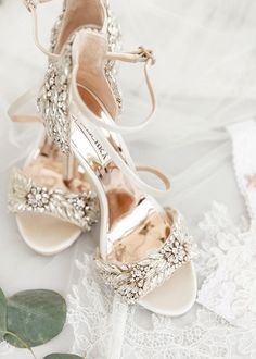 "It's All ""Ahoy to Love!"" at this Traditional Greek Wedding Bejeweled white and crystal bridal shoes by Badgley Mischka. Silver Bridal Shoes, Bridal Heels, Wedding Heels, Bling Wedding Shoes, Tulle Wedding, Bling Bling, Badgley Mischka Bridal, Bridal Skirts, Greek Wedding"