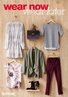 Warm days and cool nights call for easy-to-layer outfits that can be dressed up or down. So here are a few essentials to take your summer wardrobe into fall: A casual day dress that looks equally chic with sandals and boots, surprisingly versatile colored denim, a lightweight olive green jacket to toss over everything from sundresses to sweaters, and simple outfit-making basics that look great on their own and layered up later in the season. Shop fall looks at tjmaxx.com.