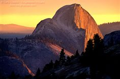 Sunset light on the face of Half Dome, from Olmsted Point, Yosemite National Park, California by enlightphoto via flickr