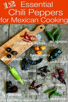 12 Essential Chili Peppers for Mexican Cooking If there is one vegetable that is a staple of Mexican cuisine it would have to be the Chili Pepper. It's amazing the range of chili peppers you can use, Spicy Recipes, Mexican Food Recipes, Cooking Recipes, Cooking Chili, Cooking Games, Ancho Chile Recipes, Cooking Eggs, Cooking Rice, Cooking 101