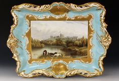 A John Ridgway rectangular porcelain plaque or tray, mid 19th century.  Painted with a landscape panel of a view of Windsor Castle.  Possibly for the Great Exhibition of 1851.