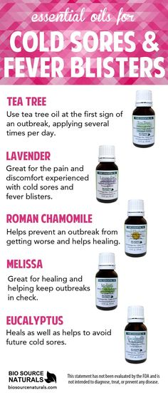 Essential oils can help soothe the symptoms of cold sores and fever blisters, as well as support healing and shorten the life span of the cold sore. #aromatherapy