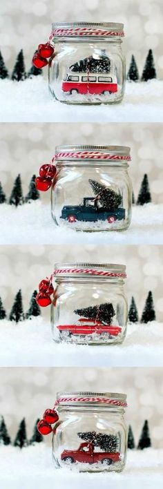 Mason Jar Snow Globes: Vintage Cars & Trucks in Mason Jars. These make the best Christmas decorations! by angela