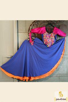 Pink And Blue Color Traditional Chaniya Choli For Garba More… Garba Chaniya Choli, Garba Dress, Navratri Dress, Lehenga Style Saree, Bollywood Lehenga, Choli Designs, Blouse Designs, Indian Dresses, Indian Outfits