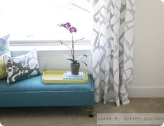 Blue Upholstered Bench with Casters. this website has DIY knockoffs of decorations from pottery barn, restoration hardware and many more. genius!