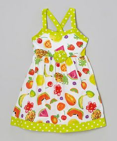 Love this A.B.S. by Allen Schwartz Lime Polka Dot Fruit Rosette Dress - Infant, Toddler & Girls by A.B.S. by Allen Schwartz on #zulily! #zulilyfinds