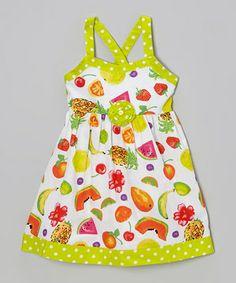Love this A.B.S. by Allen Schwartz Lime Polka Dot Fruit Rosette Dress - Infant, Toddler & Girls by A.B.S. by Allen Schwartz on #zulily! #zulilyfinds