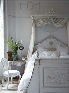 Bedroom in Pale Gray to White with Painted Gray Bed & Desk and Cornice - Architectural Find over Bed.