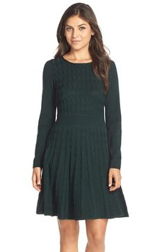 Eliza J Cable Knit Fit & Flare Sweater Dress available at #Nordstrom