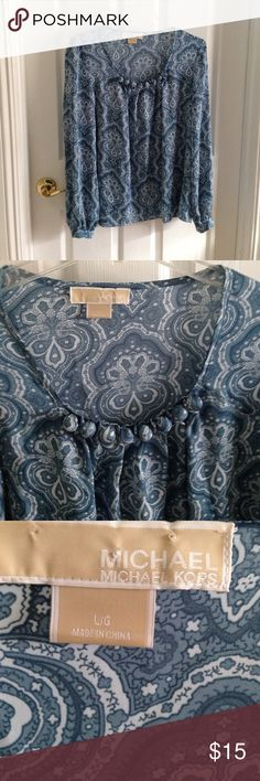 Blouse- Beautiful Luke New- Michael Kors Gorgeous Blue Print Blouse by Michael Kors-Fabric in a nice soft polyester easy care. Michael Kors Tops Blouses
