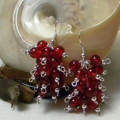 A Cluster Of Red Baubles Earrings by marilyn1545 on Etsy, $25.00