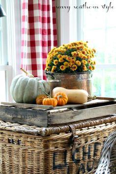 Fall decor, pumpkins, gourds, mums, vintage baskets, vintage berry crate, sun room, vignette