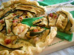 Quiche con zucchine grigliate, pancetta e formaggio