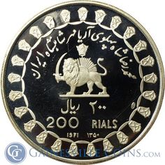 1971 Iran 200 Rials Proof Silver Coin (1.927 oz Silver) http://www.gainesvillecoins.com/category/710/african-and-middle-east-silver-coins.aspx