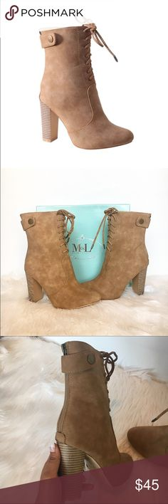 •CHRISTMAS SALE• Beige short boots💕 The perfect pair of beige short boots for this season 🌥 brand new faux suede material. They zip up from the back and have a button as well. These do not have a tongue behind the laces. Heel height is approx 3.75 inches. These run true to size.    ▪️▪️PRICE IS FIRM▪️▪️ -SOME heels may have small defects. IF the pair you purchase have major defects that are noticeable I will let u know! Shoes Ankle Boots & Booties