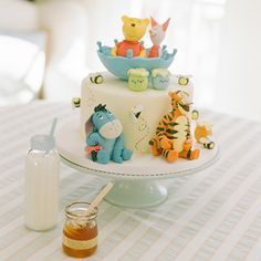 Beautiful Cake Pictures: Cutest Winnie The Pooh & Friends Cake - Birthday Cake, Cake Toppers, Colorful Cakes, Themed Cakes - Baby Cakes, Baby Shower Cakes, Baby Shower Themes, Shower Ideas, Shower Baby, Baby Showers, Disney Babys, Baby Disney, First Birthday Cakes