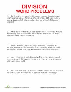 4th grade worksheets: Division Word Problems