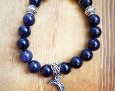 Moon and Stars Blue Goldstone Beaded Charm Bracelet, Boho Bracelet, Celestial Bracelet, Nightsky Bracelet Handmade Jewelry, Handmade Items, Unique Jewelry, Handmade Gifts, Rock Jewelry, Online Gifts, Inspirational Gifts, Indie, Dangles
