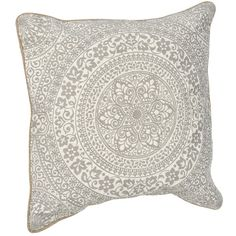 Gray and White Embroidered Medallion Pillow ($20) ❤ liked on Polyvore featuring home, home decor, throw pillows, polyester throw pillows, patterned throw pillows, medallion throw pillows, embroidered throw pillows and grey and white throw pillows
