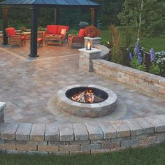 Anchor Fresco 52 in. x 12 in. Northwoods Tan Round Concrete Fire Pit Kit With Metal Liner-70300879 - The Home Depot