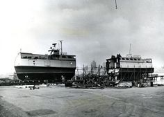 October 15, 1971: The Uncatena, one of four vessels which serviced the Cape islands for the Woods Hole, Martha's Vineyard and Nantucket Steamship Authority was exactly cut in half at the Bromfield Corp. Shipyard in East Boston. Part of the 1971 Boston skyline can be seen between the bow and stern sections. She had 53 feet added to her midship. Her passenger carrying capacity increased from 200 to 380. Her car carrying capacity increased from 25 to 34 automobiles.The spectacular sight caused…
