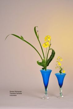 Ikebana flower arrangement shoka ikenobo by Theresia. Indonesia
