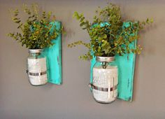 32 oz Mason Jars, Set of 2 Sconces, Wooden Wall Sconces, Wall Sconces, Distressed Wood, Aqua Color Decor, Mason Jar Decor, Country Charm by CornerOfTheShop on Etsy https://www.etsy.com/listing/185659112/32-oz-mason-jars-set-of-2-sconces-wooden